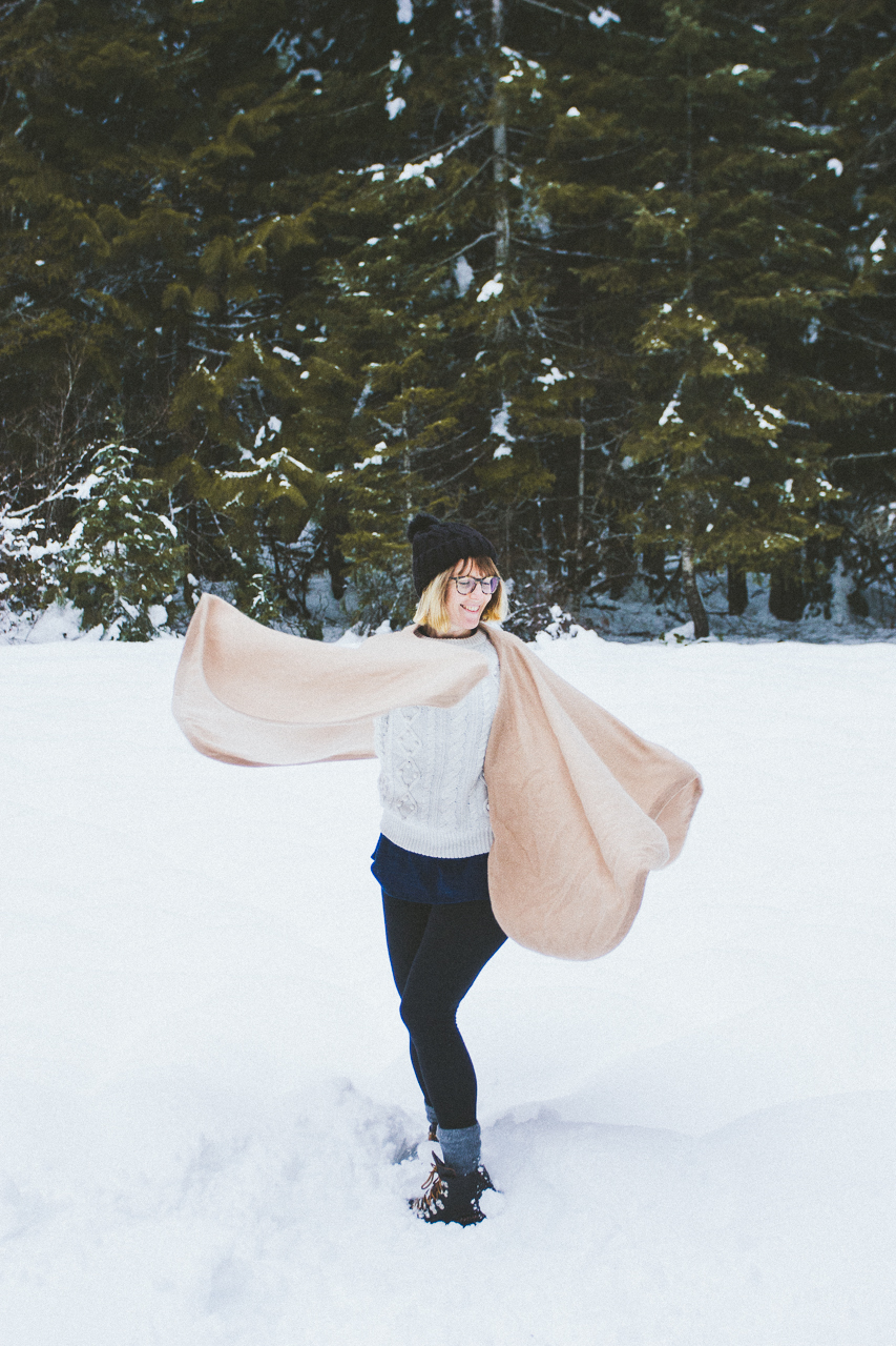 Washington forest snow day for Conscious by Chloé