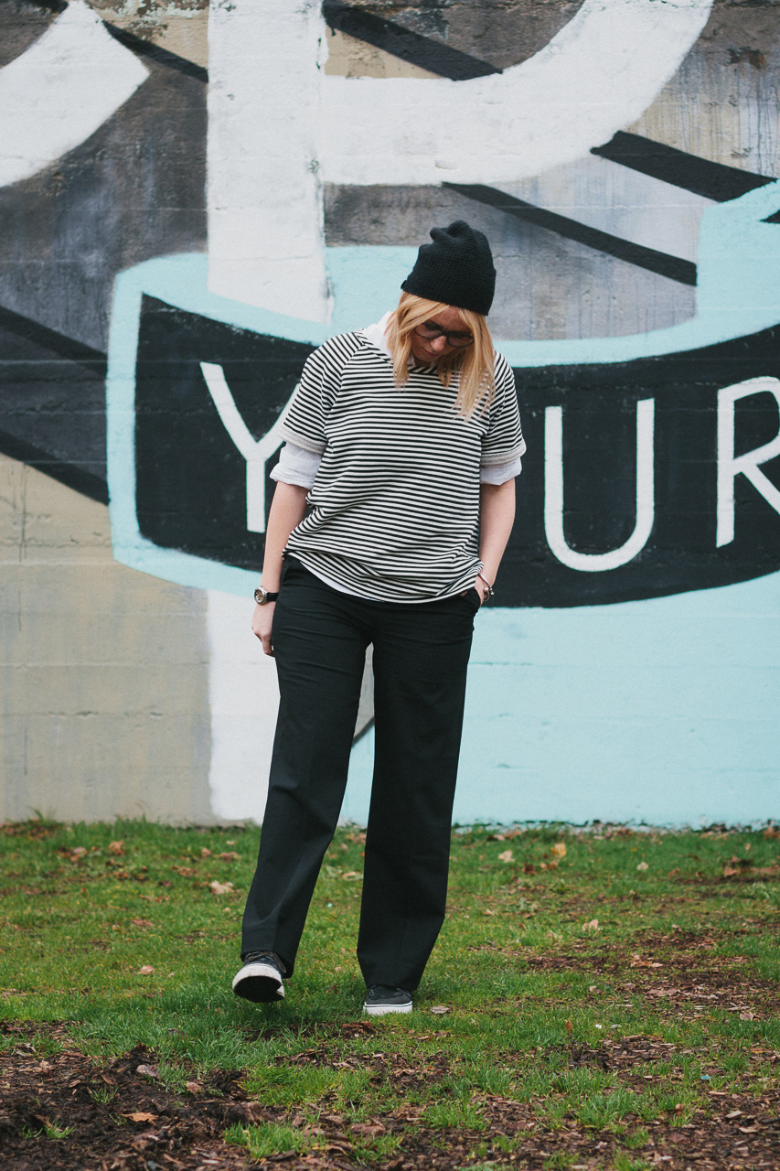 Krochet Kids Beanie, Everlane Poplin Shirt and Everlane Wide Leg Pants Look by Conscious by Chloé