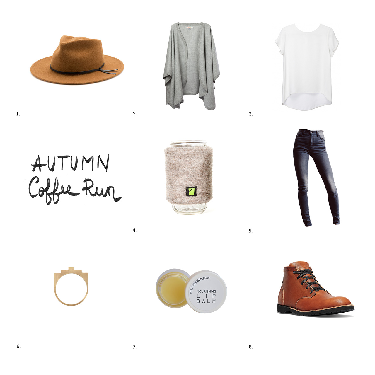 Fall Coffee Run Look Photo Collage and Calligraphy by Conscious by Chloé