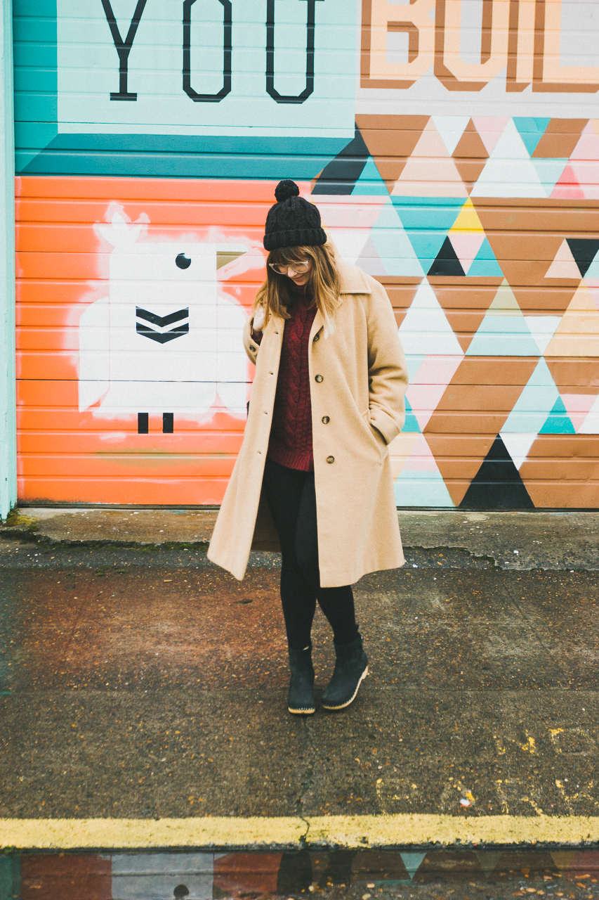 Vintage Ethical Look Shot in Front of a Portland Mural by Conscious by Chloé