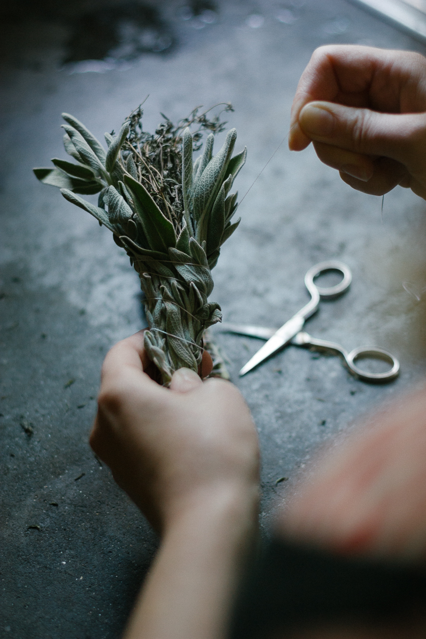 Sage + Rosemary Smudge Wands DIY by Conscious by Chloé